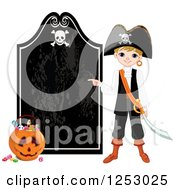 Clipart Of A Blond Pirate Boy Pointing To A Halloween Sign Royalty Free Vector Illustration by Pushkin