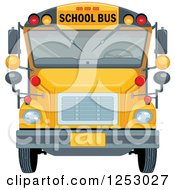 Clipart Of A Front View Of A Yellow School Bus Royalty Free Vector Illustration by Pushkin