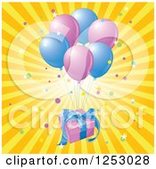 Birthday Gift Floating With Party Balloons Over Rays