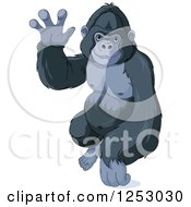 Clipart Of A Cute Friendly Gorilla Waving Royalty Free Vector Illustration