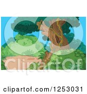 Clipart Of A Tree And Shrubs In A Jungle Royalty Free Vector Illustration by Pushkin