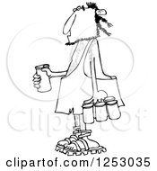 Clipart Of A Black And White Caveman With A Six Pack Of Beer Royalty Free Vector Illustration