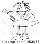 Clipart Of A Black And White Caveman Eating A Meat Drumstick Royalty Free Vector Illustration