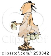 Clipart Of A Caveman With A Six Pack Of Beer Royalty Free Vector Illustration