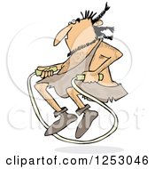 Clipart Of A Caveman Exercising With A Jump Rope Royalty Free Vector Illustration