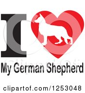 Clipart Of An I Heart My German Shepherd Dog Design Royalty Free Vector Illustration