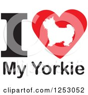 Clipart Of An I Heart My Yorkie Dog Design Royalty Free Vector Illustration by Johnny Sajem