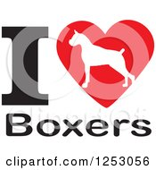 Clipart Of An I Heart Boxers Dog Design Royalty Free Vector Illustration by Johnny Sajem