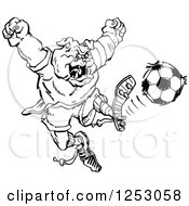 Clipart Of A Sketched Black And White Bulldog Kicking A Soccer Ball Royalty Free Vector Illustration