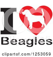 Clipart Of An I Heart Beagles Dog Design Royalty Free Vector Illustration