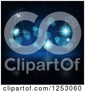 Clipart Of A Blue Bokeh Sparkle And Firework New Year Background Royalty Free Vector Illustration