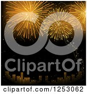 Clipart Of A City And Golden Firework Or Fourth Of July New Year Background Royalty Free Vector Illustration