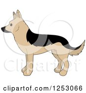 Clipart Of A Cute Alsatian German Shepherd Dog In Profile Royalty Free Vector Illustration