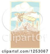 Clipart Of A Plane Flying Over The Hagia Sophia In Istanbul Turkey Royalty Free Vector Illustration