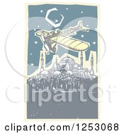 Clipart Of A Plane Flying Over The Hagia Sophia At Night In Istanbul Turkey Royalty Free Vector Illustration
