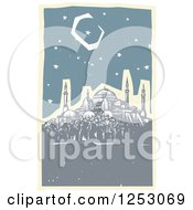 Clipart Of A Crescent Moon And Starry Night Sky Over The Hagia Sophia Royalty Free Vector Illustration by xunantunich
