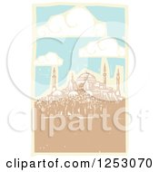 Clipart Of A Day Sky And Clouds Over The Hagia Sophia Royalty Free Vector Illustration by xunantunich