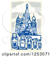 Clipart Of A Woodcut Of Nesting Dolls And Kremlin In Moscow Royalty Free Vector Illustration by xunantunich