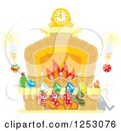 Clipart Of A Fireplace With Candles And Christmas Stockings Royalty Free Vector Illustration