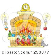 Clipart Of A Christmas Fireplace With Candles And Stockings Royalty Free Vector Illustration by Alex Bannykh