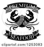 Clipart Of Black And White Premium Seafood Food Banners And Crab Royalty Free Vector Illustration by AtStockIllustration