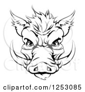 Clipart Of A Black And White Aggressive Boar Mascot Face Royalty Free Vector Illustration