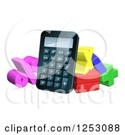 Clipart Of A 3d Calculator And Symbols Of Math Royalty Free Vector Illustration