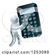 Clipart Of A 3d Silver Man Holding A Giant Calculator Royalty Free Vector Illustration by AtStockIllustration