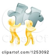 Clipart Of 3d Gold Men Carrying A Large Solution Puzzle Piece Royalty Free Vector Illustration
