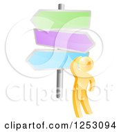Clipart Of A 3d Gold Man Looking Up At Colorful Crossroads Signs Royalty Free Vector Illustration by AtStockIllustration