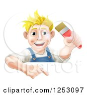 Poster, Art Print Of Happy Blond Male Caucasian Painter Holding A Paintbrush And Pointing Down At A Sign