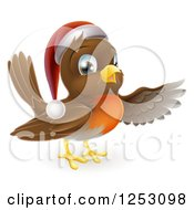 Clipart Of A Happy Christmas Robin Bird Pointing Royalty Free Vector Illustration by AtStockIllustration