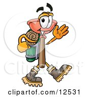 Sink Plunger Mascot Cartoon Character Hiking And Carrying A Backpack by Toons4Biz