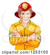 Clipart Of A Handsome Brunette Caucasian Fireman Avatar With Folded Arms Royalty Free Vector Illustration by AtStockIllustration