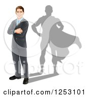 Clipart Of A Brunette Caucasian Businesman Standing With Folded Arms And A Super Hero Shadow Royalty Free Vector Illustration