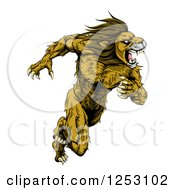 Clipart Of A Muscular Fierce Sprinting Lion Man Mascot Royalty Free Vector Illustration