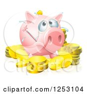 Clipart Of A Sick Piggy Bank With A Fever And Bursting Thermometer And Gold Coins Royalty Free Vector Illustration