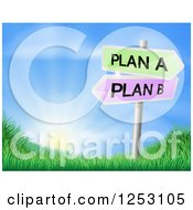 Clipart Of A Plan A Or Plan B Decision Signs Over A Sunrise Royalty Free Vector Illustration