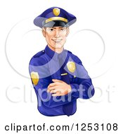 Clipart Of A Handsome Brunette Caucasian Police Officer Avatar With Folded Arms Royalty Free Vector Illustration by AtStockIllustration