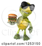 Clipart Of A 3d Tortoise Wearing Sunglasses And Holding A Double Cheeseburger 3 Royalty Free Illustration