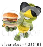 Clipart Of A 3d Tortoise Wearing Sunglasses And Holding Up A Double Cheeseburger Royalty Free Illustration