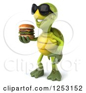 Clipart Of A 3d Tortoise Wearing Sunglasses And Holding A Double Cheeseburger 2 Royalty Free Illustration