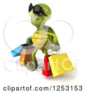 Clipart Of A 3d Tortoise Wearing Sunglasses And Carrying Shopping Bags Royalty Free Illustration