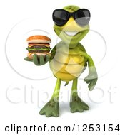 Clipart Of A 3d Tortoise Wearing Sunglasses And Holding A Double Cheeseburger Royalty Free Illustration
