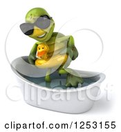 Clipart Of A 3d Tortoise Wearing Sunglasses And Standing In A Tub With A Duck Inner Tube 2 Royalty Free Illustration