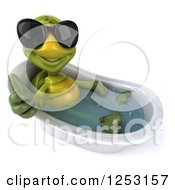 Clipart Of A 3d Tortoise Wearing Sunglasses Holding A Thumb Up And Soaking In A Bath Tub Royalty Free Illustration