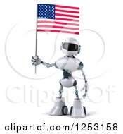 Clipart Of A 3d White And Blue Robot Holding An American Flag Royalty Free Illustration