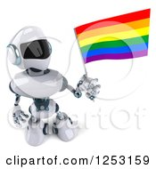 Clipart Of A 3d White And Blue Robot Holding A Rainbow LGBT Flag Royalty Free Illustration