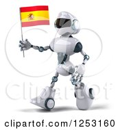 Clipart Of A 3d White And Blue Robot Walking With A Spanish Flag Royalty Free Illustration
