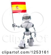 Clipart Of A 3d White And Blue Robot Walking With A Spanish Flag 2 Royalty Free Illustration